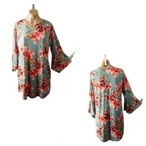 HANDMADE FLOUCY FLORAL BELLSLEEVE DRESS